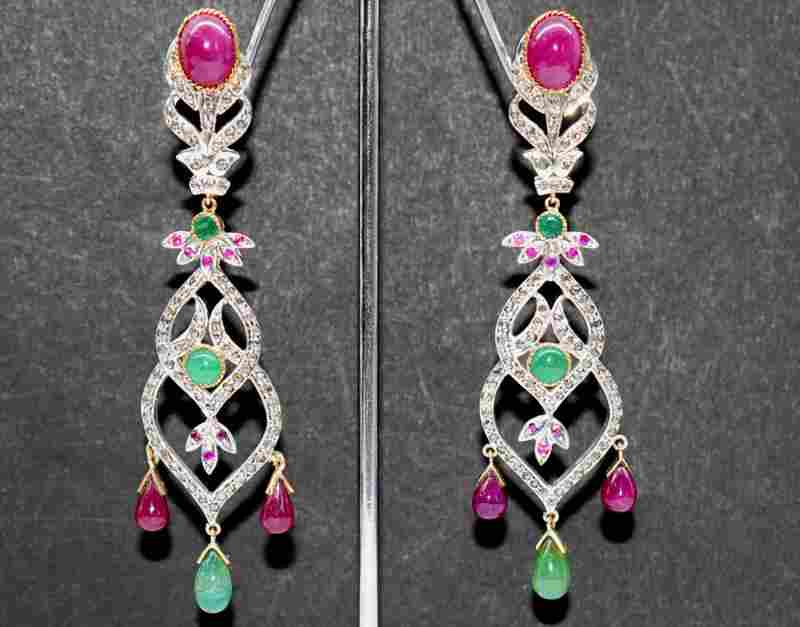 VICTORIAN EARRINGS W/ GOLD ,EMERALDS, RUBY, DIAMONDS