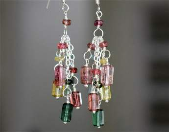 RARE TOURMALINE EARRING W/ SOLID 925 STERLING SILVER