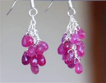 STERLING SILVER - RUBY - EARRINGS ( glass filled )