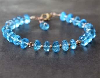 NATURAL BLUE TOPAZ BRACELET W/ 925 SILVER