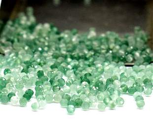 300 PIECES -  NATURAL GREEN ONYX - ROUND 2 mm - LOOSE