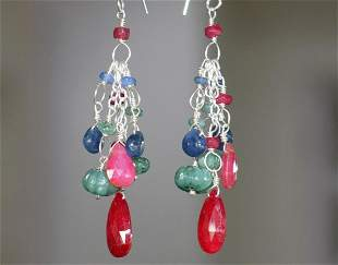 EMERALD RUBY SAPPHIRES  EARRING  925 STERLING SILVER