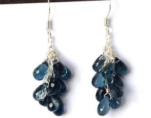 STERLING  SILVER -BLUE TOPAZ  DROP EARRINGS