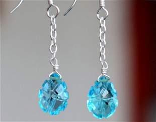 STERLING SILVER - BLUE TOPAZ CARVED - EARRINGS