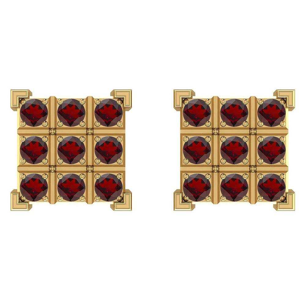 Certified 0.63 Ctw Garnet 14K Yellow Gold Stud Earrings