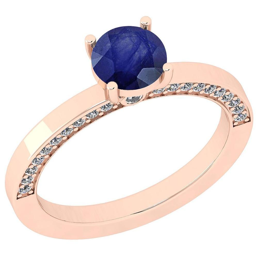 Certified 1.23 Ctw Blue Sapphire And Diamond SI2/I1 14K