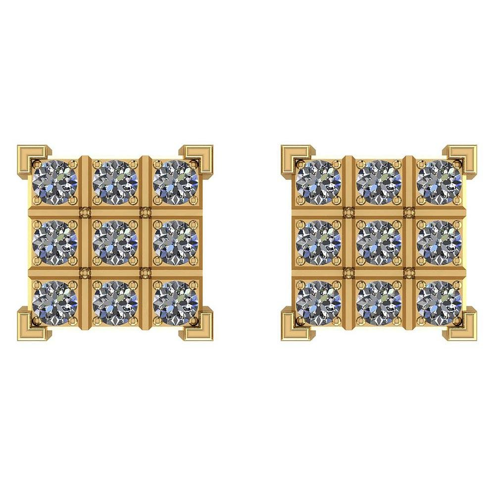 Certified 0.45 Ctw Diamond I1/I2 14K Gold Stud Earrings