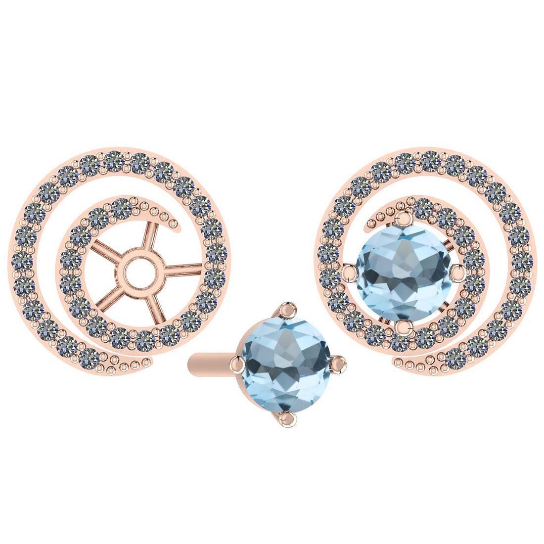 Certified 0.81 Ctw Blue Topaz And Diamond I1/I2 14K Gol
