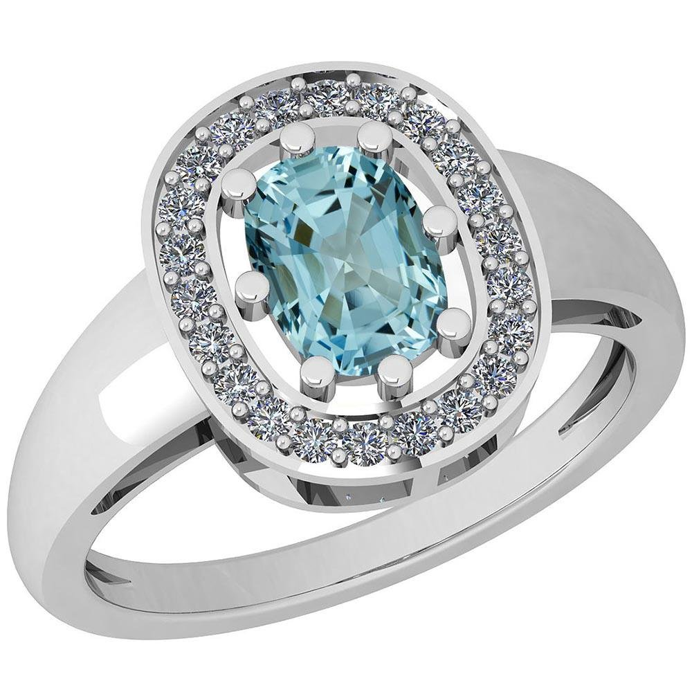 Certified 0.89 Ctw Blue Topaz And Diamond I1/I2 14K Gol