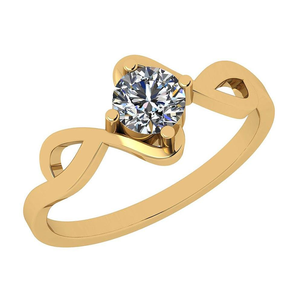 Certified 0.45 Ctw Diamond I1/I2 14K Gold Solitaire Rin