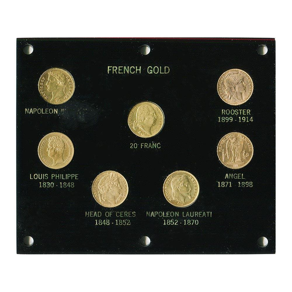French 7 Coin Variety 20 Franc Capitol Plastic Set