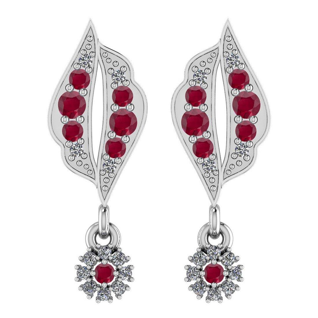Certified 0.61 CTW Ruby And Diamond I1/I2 14K Gold Stud
