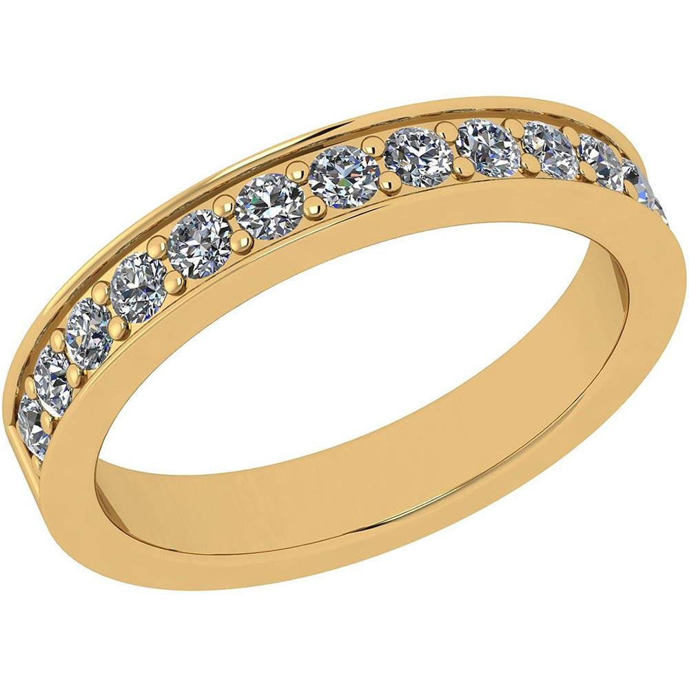 Certified 0.96 Ctw Diamond I1/I2 14K Yellow Gold Band R
