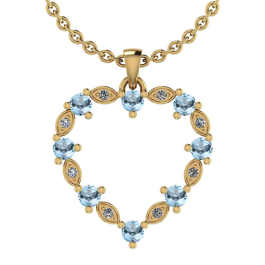 Certified 0.84 Ctw Blue Topaz And Diamond SI2/SI3 14K G