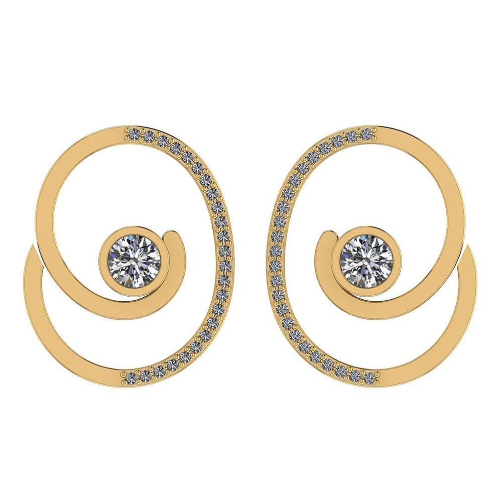 Certified 1.38 Ctw Diamond I1/I2 14K Yellow Gold Stud E