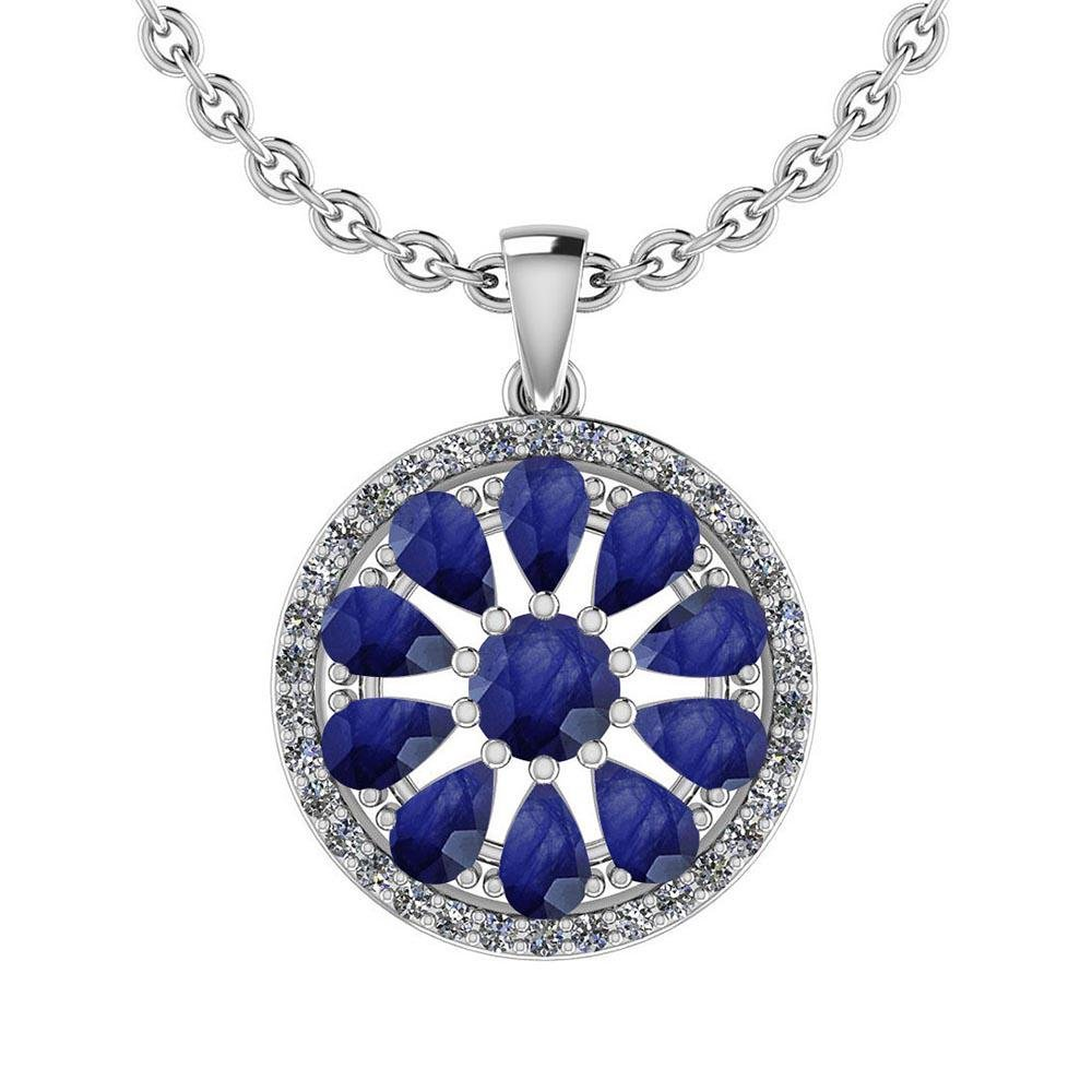 Certified 3.67 Ctw Blue Sapphire And Diamond I1/I2 14K