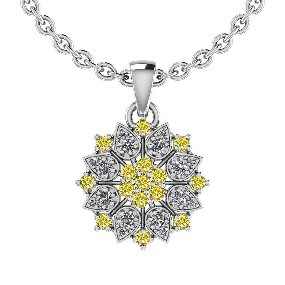 Certified 2.34 Ctw Treated Fancy Yellow Diamond And Whi