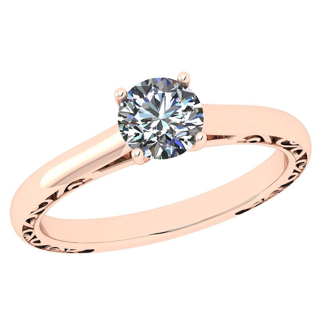 Certified Round 0.63 CTW J/VS1 Diamond Solitaire Ring I