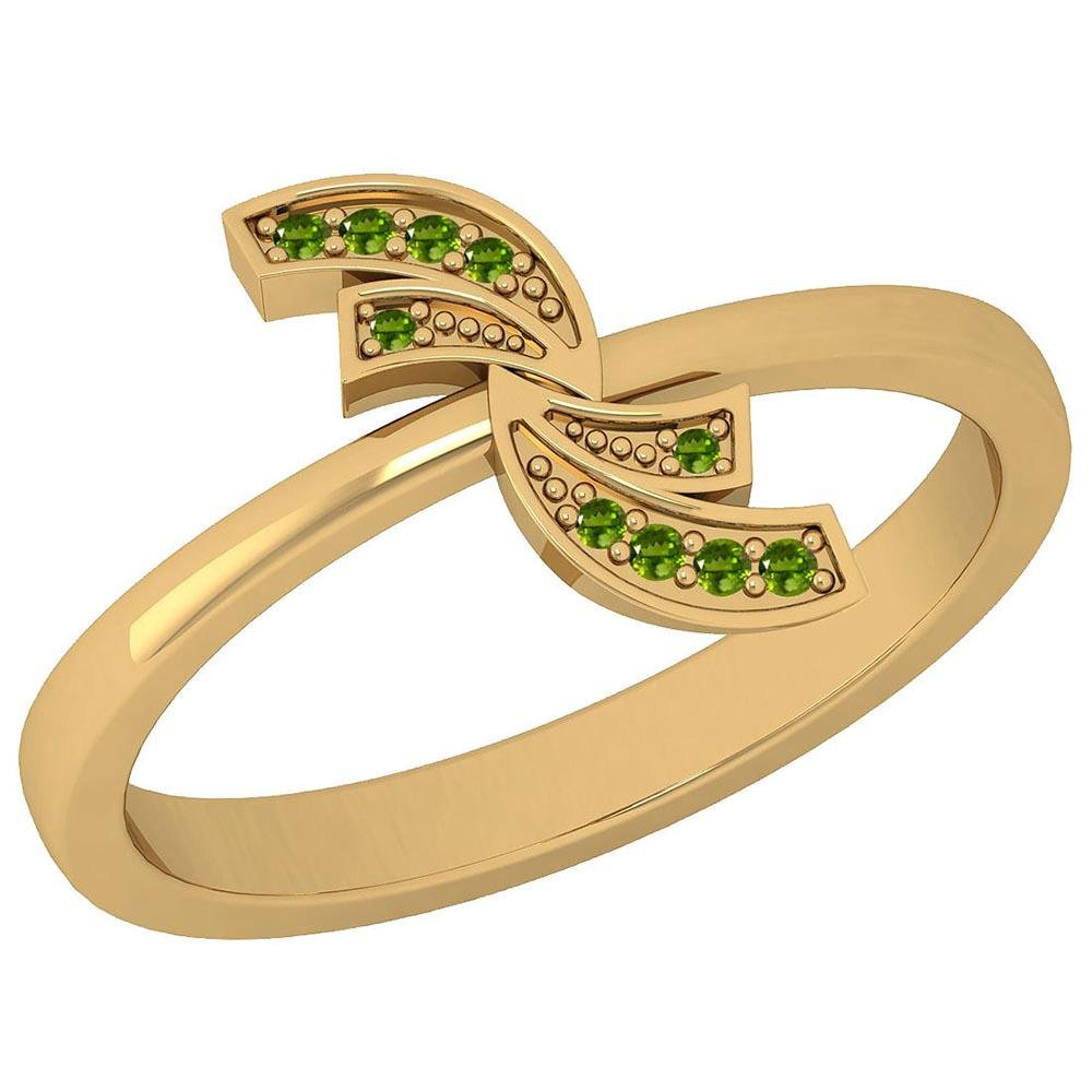 Certified 0.05 Ctw Peridot 14K Yellow Gold Ring