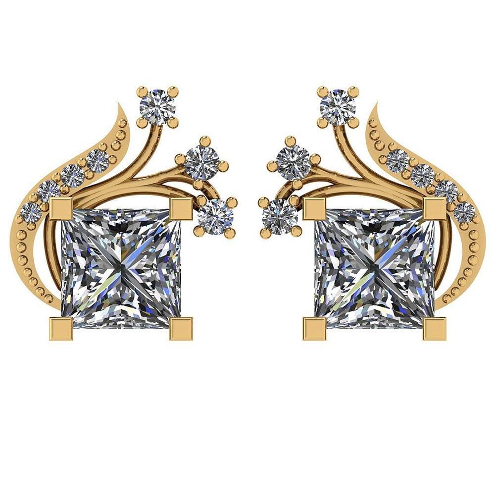 Certified 1.65 Ctw Diamond SI1/SI2 14K Yellow Gold Stud