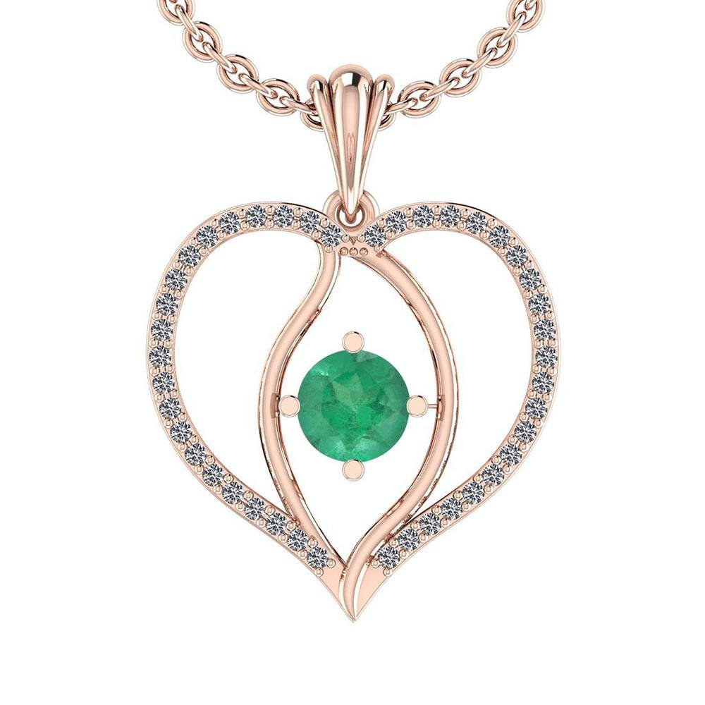 Certified 0.71 Ctw Emerald And Diamond VS/SI1 14K Gold