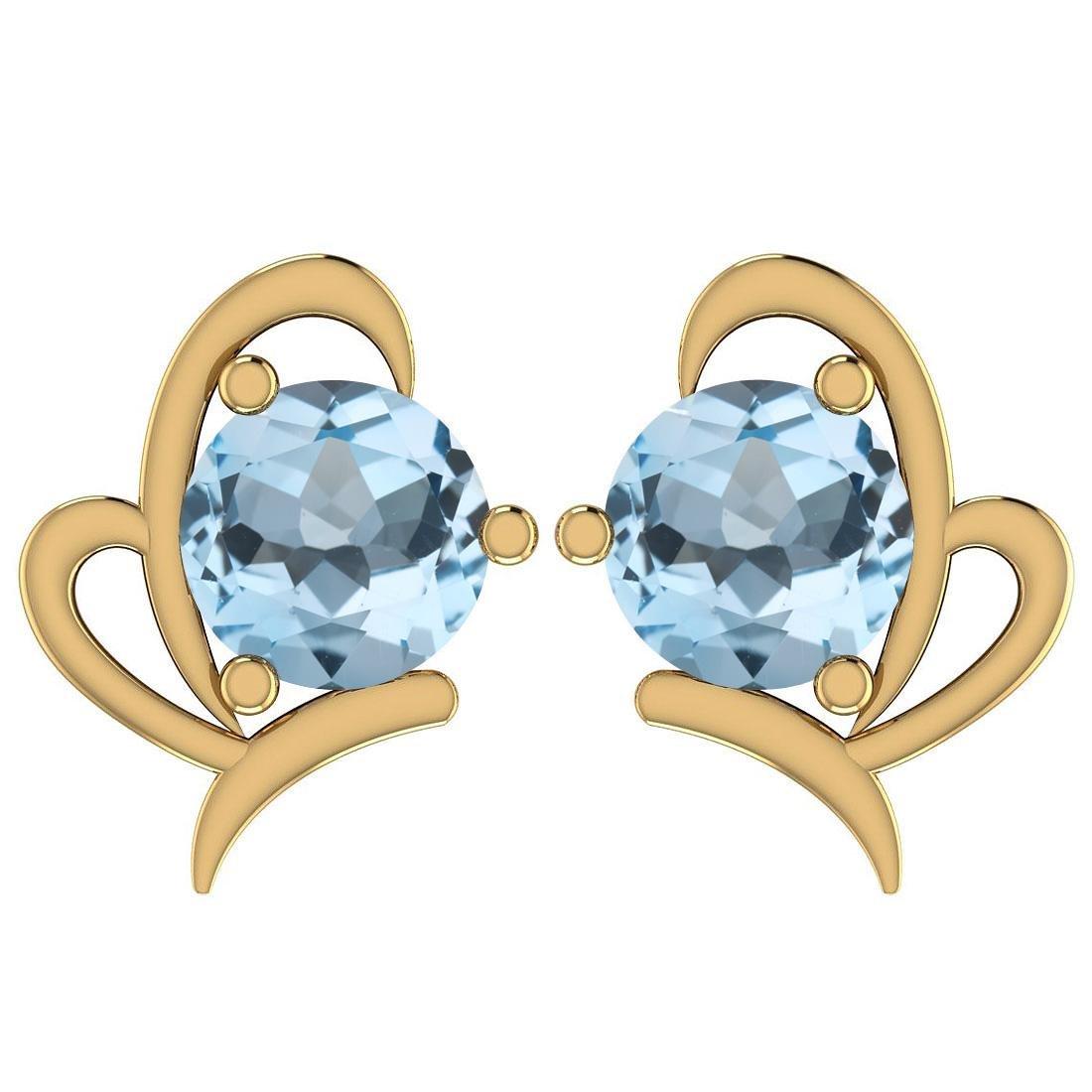 Certified 1.68 Ctw Blue Topaz 14K Yellow Gold Stud Earr