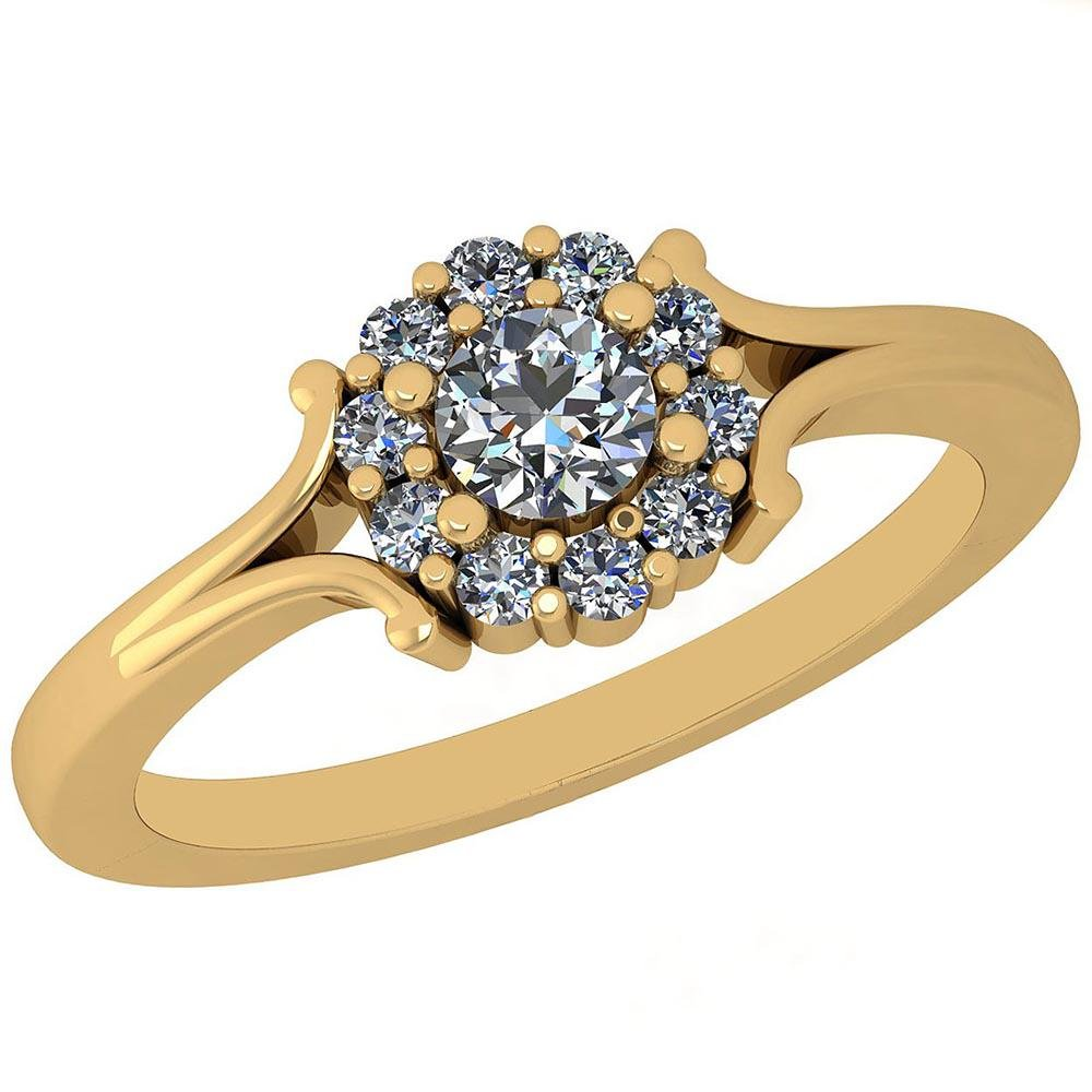 Certified 0.37 Ctw Diamond SI1/SI2 14K Yellow Gold Enga