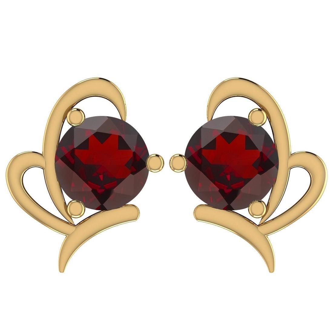 Certified 1.68 Ctw Garnet 14K Yellow Gold Stud Earrings