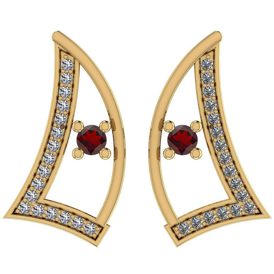 Certified 0.31 Ctw Garnet And Diamond I1/I2 14K Gold St