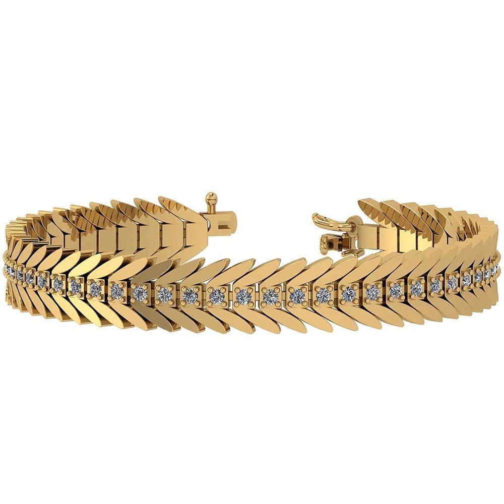 Certified 2.20 Ctw Diamond I1/I2 14K Yellow Gold Bracel