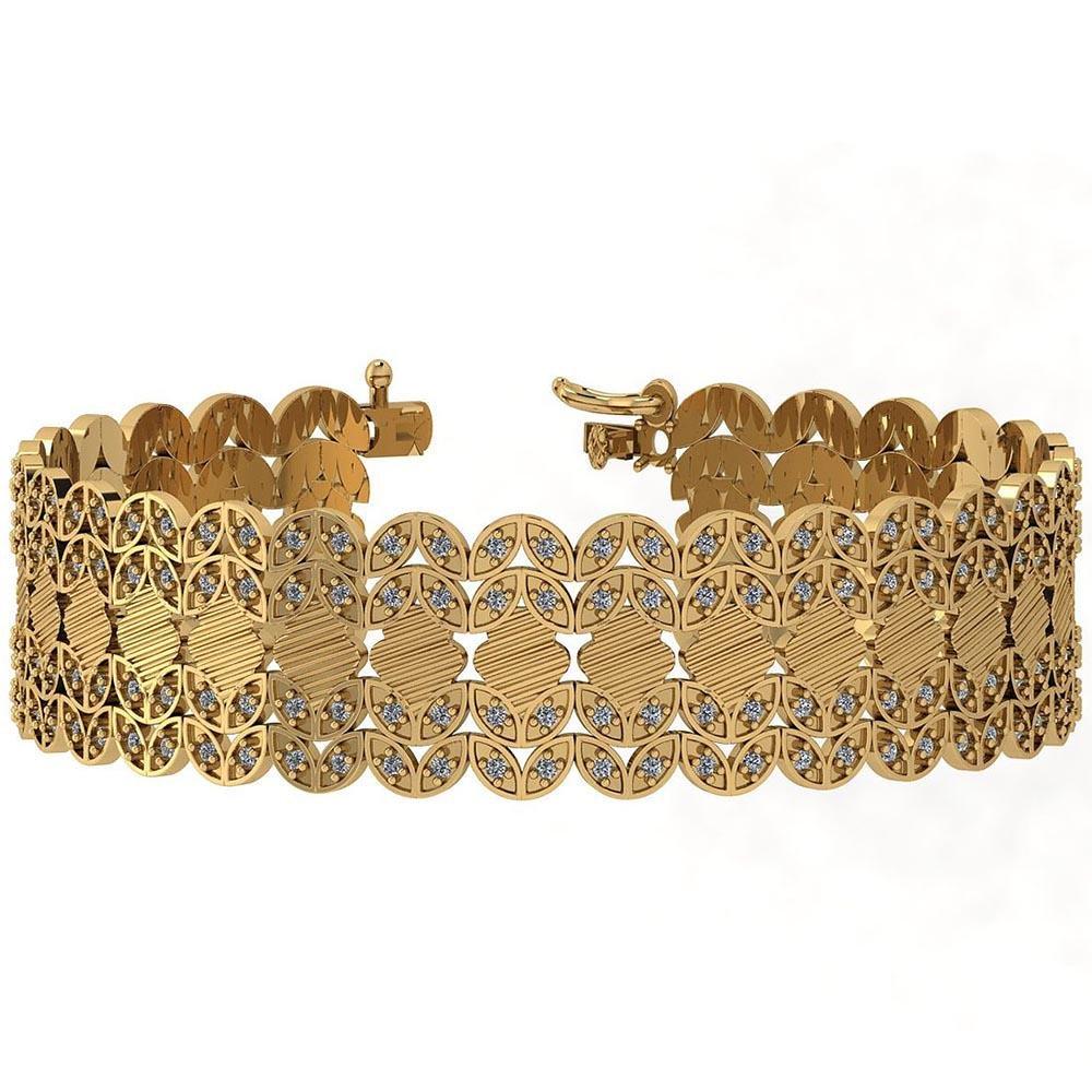 Certified 2.40 Ctw Diamond I1/I2 14K Yellow Gold Bracel