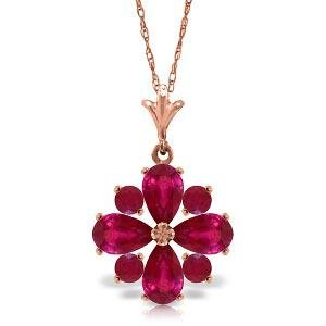 2.23 CTW 14K Solid Rose Gold Winter Ruby Necklace
