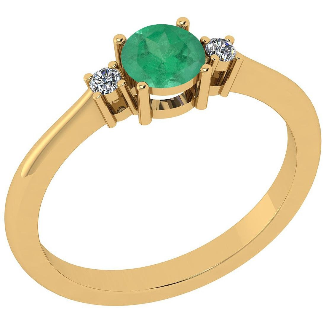 Certified 0.58 Ctw Emerald And Diamond I1/I2 14K Gold A