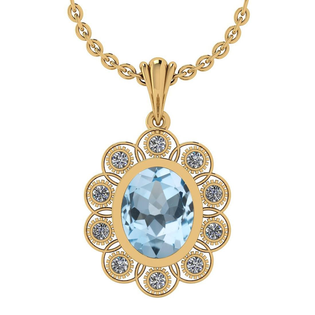 Certified 4.00 Ctw Blue Topaz and Diamond I1/I2 14K Gol