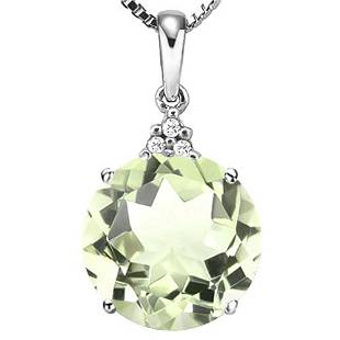 067 CTW GREEN AMETHYST 10K SOLID WHITE GOLD ROUND SHAP