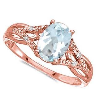 066 CARAT AQUAMARINE 004 CTW DIAMOND 14KT SOLID RED