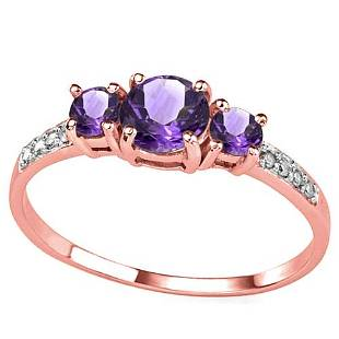 070 CT AMETHYST AND ACCENT DIAMOND 004 CT 10KT SOLID