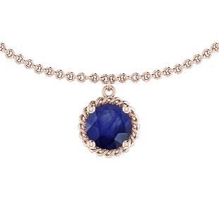 Certified 100 Ctw Blue Sapphire 14K Rose Gold Solitair
