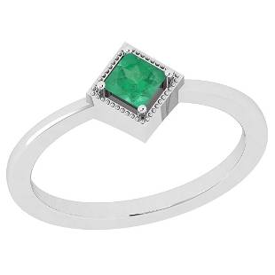Certified 050 Ctw Emerald 14K White Gold Vintage Style