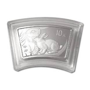 China 2011 Year of the Rabbit 1 oz Silver Fan w Box