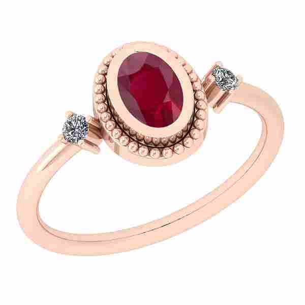 Certified 0.57 Ct Ruby and Diamond SI2/I1 14K Rose Gold