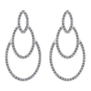 Certified 0.60 Ctw Diamond VS/SI1 18K White Gold Earrin