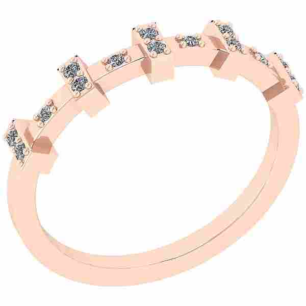 Certified 0.14 Ctw Diamond SI2/I1 14K Rose Gold Ring