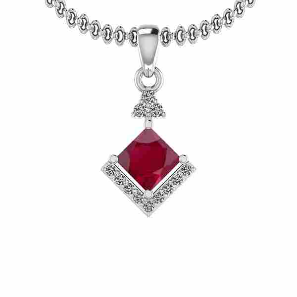 Certified 0.86 Ct Ruby and Diamond SI2/I1 14K White Gol