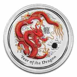 Australia 2012 Silver Kilo Colorized Dragon