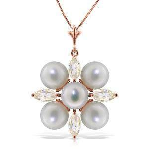 6.3 CTW 14K Solid Rose Gold Necklace Rose Topaz pearl