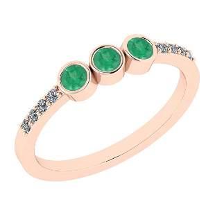 Certified 0.38 Ct Emerald and Diamond I1/I2 10K Rose Go