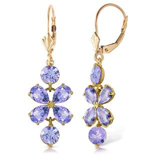 5.32 Carat 14K Solid Gold Petals Tanzanite Earrings