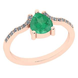 Certified 0.84 Ct Emerald and Diamond I1/I2 10K Rose Go