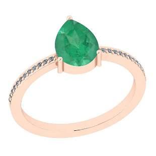 Certified 0.83 Ct Emerald and Diamond I1/I2 10K Rose Go